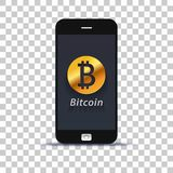 Применение обменом bitcoin Cryptocurrency для мобильного телефона наклеенного на бумаге фото стоковое изображение rf