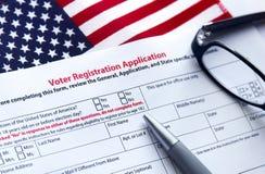 Применение регистрации избирателя стоковое фото rf
