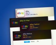 Применения EBay на дисплее компьютера Стоковые Фотографии RF
