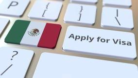 ПРИМЕНИТЕСЬ ДЛЯ текста ВИЗЫ и флага Мексики на кнопках на клавиатуре компьютера Схематическая 3D анимация сток-видео