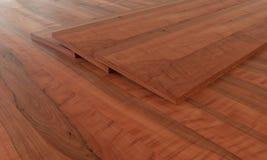 Примеры партера на деревянном поле - переводе 3D Иллюстрация вектора