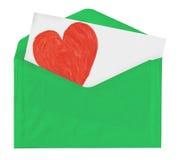 Примечание влюбленности в зеленом конверте Стоковая Фотография
