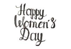 Примечание каллиграфии дня счастливых женщин стоковое изображение rf