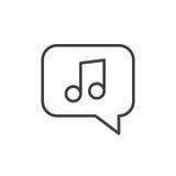 Примечание музыки в линии значке пузыря, знаке вектора плана, линейной пиктограмме стиля изолированной на белизне бесплатная иллюстрация