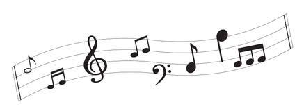 Примечание музыки с символами Стоковая Фотография