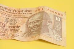 Примечание 10 рупий (индийская валюта) Стоковая Фотография