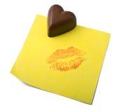примечание сердца шоколада Стоковое фото RF