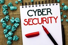 Примечание сочинительства показывая безопасность кибер Фото дела showcasing онлайн предохранение вирусов нападений шифрует o напи Стоковые Изображения