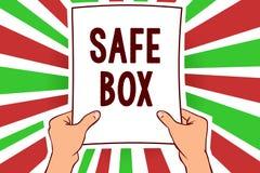 Примечание сочинительства показывая безопасную коробку Фото дела showcasing структура a малая где вы можете держать важная или це иллюстрация штока