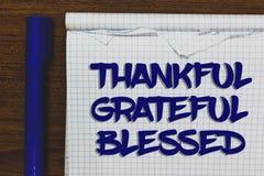 Примечание сочинительства показывая благодарное благословленное признательное Ориентация настроения признательности благодарности стоковая фотография rf