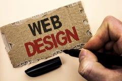 Примечание сочинительства показывая веб-дизайн Wri навигации эскиза Webdesign Веб-страницы шаблона плана сети фото дела showcasin стоковые изображения