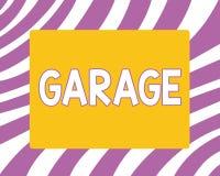 Примечание сочинительства показывая гараж Здание фото дела showcasing для расквартировывать моторный транспорт или корабли для то иллюстрация штока