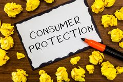 Примечание сочинительства показывая защиту потребителя Законы справедливой торговли фото дела showcasing для того чтобы обеспечит стоковая фотография rf