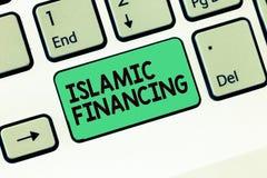 Примечание сочинительства показывая исламское финансирование Фото дела showcasing кренящ деятельность и вклад которой исполняет с стоковая фотография rf