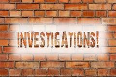 Примечание сочинительства показывая исследования Кирпич анализа исследования рассмотрения исследования официального расследования стоковые изображения