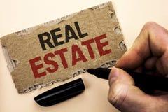 Примечание сочинительства показывая недвижимость Фото дела showcasing жилое свойство строя покрытое реальное Chattels земли напис стоковые изображения rf