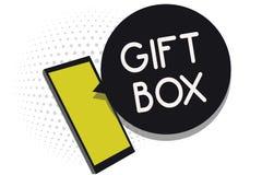 Примечание сочинительства показывая подарочную коробку Фото дела showcasing cointainer a малое с дизайнами способными регулироват иллюстрация вектора