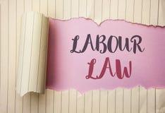 Примечание сочинительства показывая трудовое право Занятость фото дела showcasing управляет законодательством o обязательств прав стоковая фотография