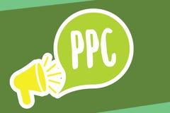 Примечание сочинительства показывая Ppc Рекламодателя фото дела showcasing оплачивают гонорар каждый раз одно из их объявлений ще иллюстрация вектора