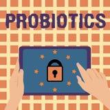 Примечание сочинительства показывая Probiotics Фото дела showcasing микроорганизм в реальном маштабе времени бактерий, который хо иллюстрация штока