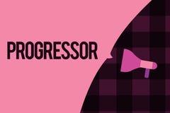 Примечание сочинительства показывая Progressor Персона фото дела showcasing которая делает прогресс или облегчает его в других иллюстрация штока
