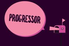 Примечание сочинительства показывая Progressor Персона фото дела showcasing которая делает прогресс или облегчает его в других иллюстрация вектора