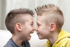 Примечание для того чтобы обнюхать портрет маленьких братьев стоковое фото rf