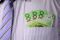 300 примечаний доллара в карманн рубашки бизнесмена Стоковое Изображение RF