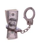 100 примечаний доллара в наручнике Стоковые Фото
