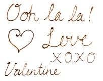 Примечания влюбленности написанные в шоколаде Стоковое Фото