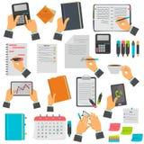 Примечания дела, календарь, список дел, тетрадь, установленные значки цвета таблетки Различные манипуляции дела изолированные на  иллюстрация штока