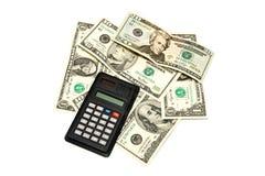 примечания долларов чалькулятора различные Стоковая Фотография