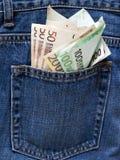 Примечания евро в заднем карманн голубые джинсы. Стоковые Изображения RF
