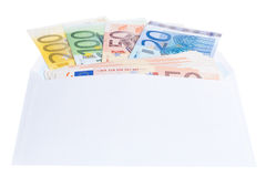 Примечания евро в конверте Стоковое Фото