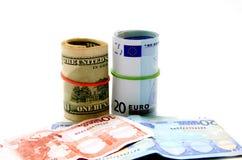 Примечания евро и долларов Стоковые Фотографии RF