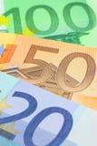 примечания евро крупного плана Стоковое Изображение