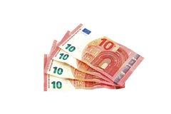 Примечания евро на простой белой предпосылке Стоковое Изображение