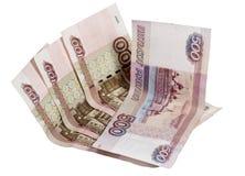 Примечания 100 и 500 рублей на белой предпосылке Стоковая Фотография