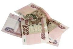 Примечания 500 и 100 рублей Стоковые Изображения