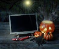 примечания лунного света halloween летучей мыши предпосылки Пугающая тыква, черный паук, доска o Стоковое Изображение
