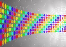 Примечания музыки и точки цветов радуги в запачканной серой предпосыл иллюстрация штока