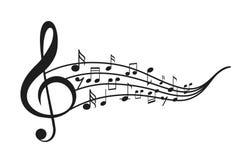Примечания музыки с волнами стоковые изображения rf