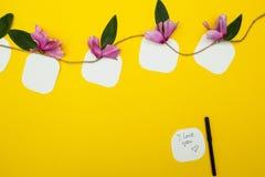 Примечания на веревочке с цветками на желтой предпосылке, с космосом для текста стоковые фотографии rf