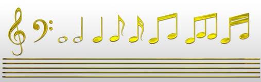примечания нот золота Стоковая Фотография RF