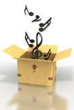 примечания нот картона коробки плавая вне Стоковая Фотография