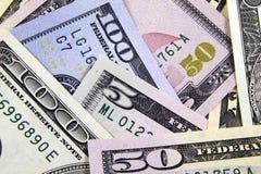 Примечания доллара, предпосылка денег, крупный план Стоковые Фото