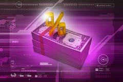 Примечания доллара с знаком процента Стоковые Изображения RF