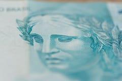 Примечания реальной, бразильской валюты деньги Бразилии портрет o Стоковое фото RF