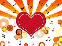примечания сердца музыкальные Стоковая Фотография