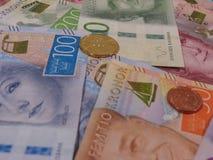 Примечания шведских кронов и монетки, Швеция Стоковые Фото
